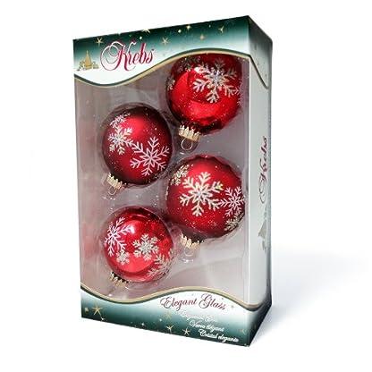 Weihnachtskugeln-Christbaumkugeln-4er-Pack-Kugeln-rot-mit-Schneesternen-mundgeblasener-Baumschmuck-aus-Glas-mit–ca-65-cm