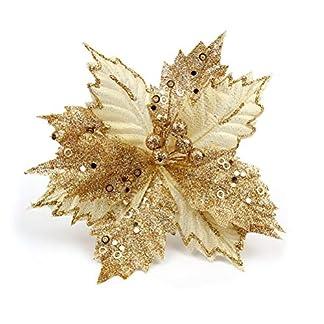 BESTOYARD-Glitzer-Weihnachtsstern-Blumen-Mesh-Weihnachten-Baum-Krnze-Deko-22-cm-Golden
