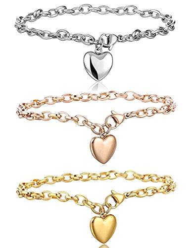 BE STEEL Besteel Edelstahl Herz Armband Damen Armkette Frabesilber Gold Rosegold 19cm