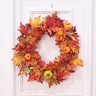 HELEVIA-Herbst-Deko-Ahornbltter-Garland-Maple-Leaf-Krbis-Berry-Wreath-Wanddekoration-Herbstkranz-Trkranz-Weihnachtskranz-Wandschmuck-Dekoration-fr-Halloween-Thanksgiving-Weihnachten