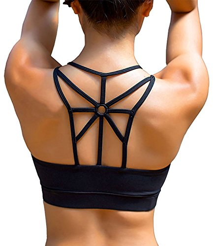 YIANNA Damen Sport BH Gepolstert Elastizität Bustier Yoga BH ohne Bügel Comfort Atmungsaktiv Sports Bra Top