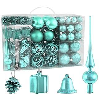 Brubaker-Christbaumkugel-Set-mit-Tannenzapfen-Weihnachtsglocken-Geschenken-Christbaumspitze-Christbaumschmuck-101-Teile-Blau