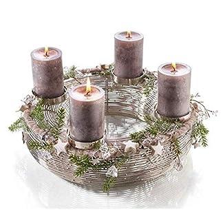 Weihnachtlicher-Moderner-MetallkranzAdventskranz-Edelstahl-Weihnachtskranz-Hochwertiger-KerzenhalterSilberkranz-WeihnachtenWeihnachtsdeko