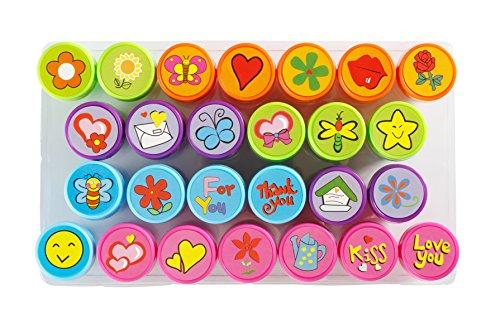 Moore-Art-26-Stck-selbst-Farbwerk-Floral-Design-Spielzeug-Stempel-mit-Multi-Color-Bright-Love-Ink-Briefmarken-DIY-Craft-fr-Kinder-Party-Geschenke-Liebesbriefe-und-liebevolle-Geschenke