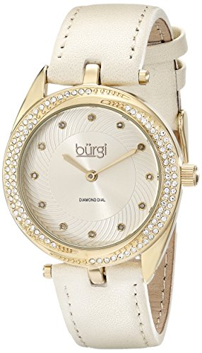 Burgi-Damen-Armbanduhr-Analog-Display-Japanisches-Quarz-beige