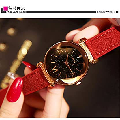 Godagoda-Damen-Armbanduhr-Leder-Glitzer-Sternhimmel-Muster-Deko-Wasserdicht-Quarzuhr-Geschenke-23cm
