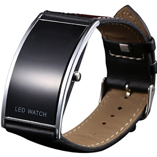 Digitale-Unisex-LED-Armbanduhr-superdnnes-schwarzes-Armband
