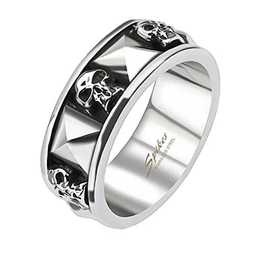 Mianova Herren Ring Edelstahl 3D Totenkopf Nieten Silber