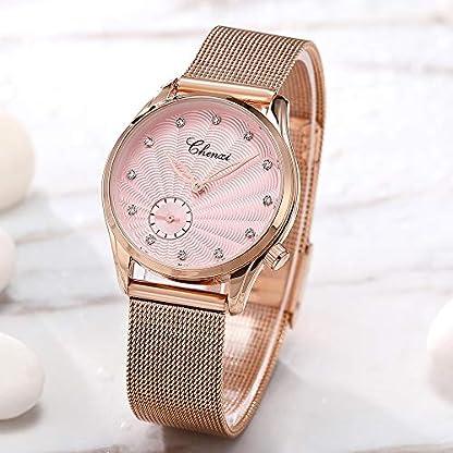 Damen-Armbanduhr-Casual-Fashion-Wasserdicht-Armbanduhr-Armbanduhr-Armbanduhr-Quarz-Gold-Armband-Edelstahl-Pink