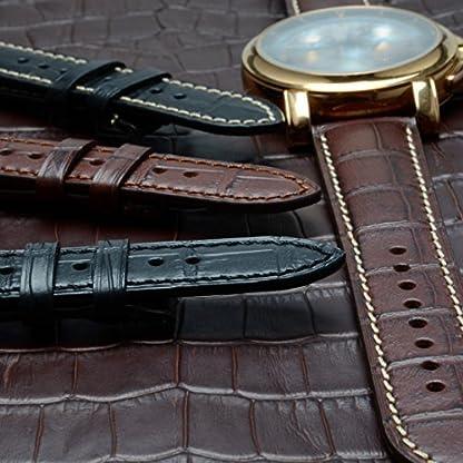 WOCCI-Alligator-Geprgtes-Leder-Uhrenarmband-Echtlederarmband-Italien-mit-Schnalle-Goldene-18mm19mm20mm21mm-oder-22mm