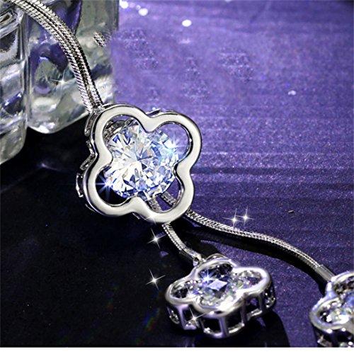 Elistelle Halskette Kette Damen Silber Mit Anhänger Blumen Muster Lang Ketten