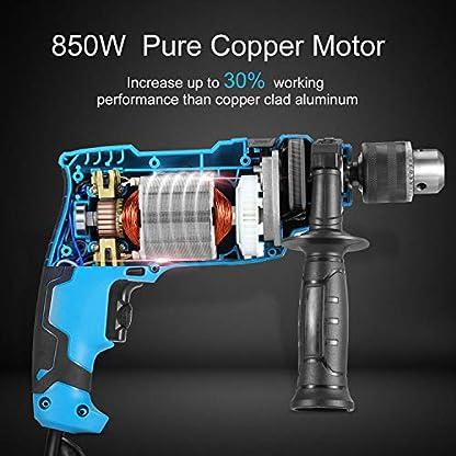 Bohrmaschine-Tilswall-850W-Schlagbohrmaschine-3000-RPM-Hammer-und-Bohrer-15-Stck-Zubehr-13mm-Auto-Lock-Bohrfutter-Schnellspann-Bohrfutter-verstellbarer-Zusatzhandgriff-3M-Kabel