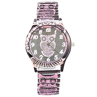 MJARTORIA-Damen-Federkraft-Quartz-Uhr-Eule-Analog-Armreif-Uhr-Rosa
