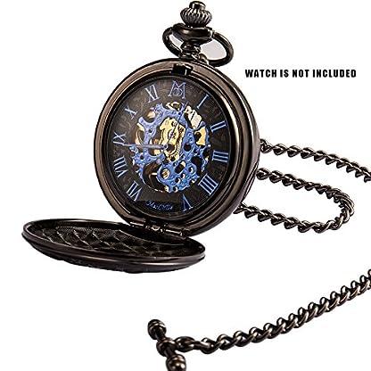 ManChDa-Retro-Schwarze-Tasche-Uhrkette-13-Zoll-Einzelne-Albert-Curb-T-BAR-Kette-Link-fr-Mnner-Frauen