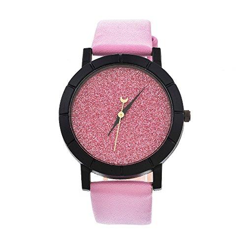 Homim-Damen-Armbanduhr-PU-Leder-Armband-Strass-Rosa-Zifferblatt-Frauen-Glitzer-Analog-Quarzuhr-Dornschliee-Batterie-Uhrwerk
