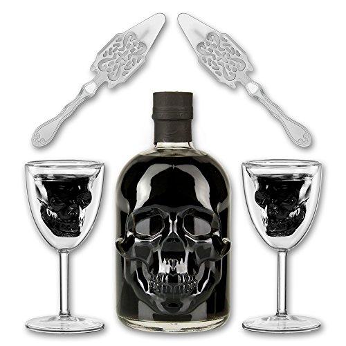 Black-Head-Absinthe-2x-Totenkopfglas-Skull-Chalice-2x-Absinthe-Lffel-Antique