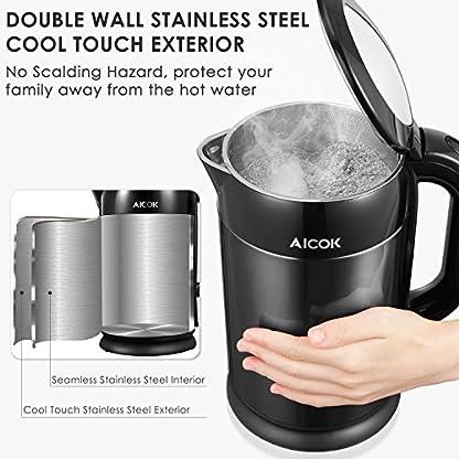 Aicok-Wasserkocher-Edelstahl-17L-Cool-Touch-Doppelwand-Design-Wasserkocher-2200W-Schnellkoch-Wasserkocher-voller-Edelstahl-innen-Wasserkessel-Automatisch-Abschaltung-Schwarz