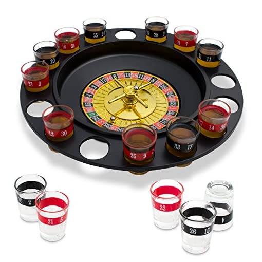 Schnapsglas-Set-mit-Roulettescheibe-Schwarz-Spielkasino-Design-16-Schnapsglser-fr-Trinkspiele-Grinscard