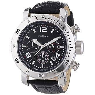 Steel-Master-Herren-Armbanduhr-Chronograph-Quarz-Analog-Leder-CAP1103223A
