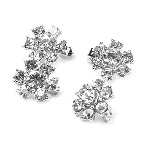 4 x Mini Blume Brosche Strass Dekoration Schal Clips Hochzeits-Silber