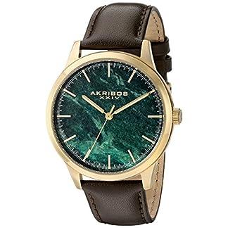 Akribos-XXIV-Herren-Trek-Analog-Quarz-Armbanduhr-mit-Leder-Armband