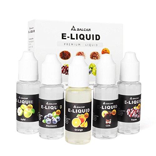 Salcar E-Liquid 0,0mg Nikotin, 1er Pack (5x 20ml) für E-Zigarette, Apfel, Trauben, Orange, Blaubeere ,Cola