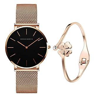 XLORDX-Classic-Damen-Armbanduhr-Analog-Quarz-Rosegold-Edelstahl-Armband-Schwarz-Zifferblatt-mit-Elegant-Rosegold-Armband