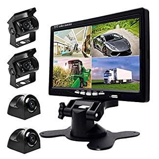 Podofo-9V-24V-Car-Backup-Camera-Kit-7-Inch-HD-Quad-split-Monitor-4-x-Waterproof-IR-Night-Vision-Cameras