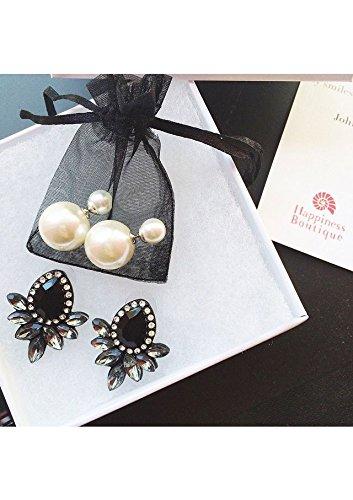 Happiness Boutique Damen Statement Ohrringe Strasssteine | Große Vintage Ohrstecker Modeschmuck in Schwarz nickelfrei | Schwarze Ohrringe
