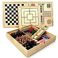 Bavaria-Home-Style-Collection-Holz-Spielesammlung-Reise-Gesellschaftsspiele-fr-die-ganze-Familie-Spiele-Kassette-aus-Holz-Dame-Schach-Domino-Karten-Spiele-UVM-Geschenk-Ideen