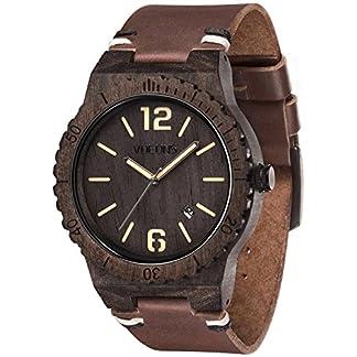 VOEONS-Herren-Uhren-Holz-Armbanduhr-mit-braunem-Lederarmband-handgefertigte-Holzuhr
