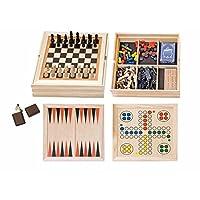 SPIELESAMMLUNG-HOLZ-DOMINO-LUDO-SCHACH-BACKGAMMEN-SPIEL-Holzspielzeug