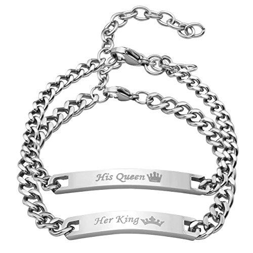 """JOVIVI 2pcs Edelstahl Partner Armband Handgelenk Panzerkette Gravur """"Her King/His Queen"""" Schrift Silber Curb Kette Partnerarmbänder"""