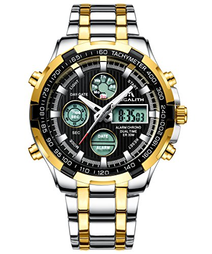 Herren-Uhren-Schwarz-Edelstahl-Mnner-Militr-Sport-Chronograph-Wasserdicht-Datum-Kalender-Kleider-Groe-Digitaluhr-Multifunktions-LED-Wecker-Licht-Stopuhr-Analoge-Luxus-Gold-Armbanduhr-fr-Herren