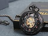 lancardo-Herren-Klassisch-Retro-Handaufzug-Mechanische-Taschenuhr-mit-rmische-Ziffern-Zifferblatt-Geschnitzte-Skelett-Kettenuhr-mit-Pullover-Halskette-schwarz