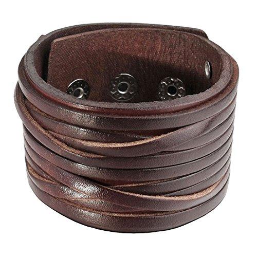 Breites Lederarmband | Modisches Leder Armband | Herren und Damen | Handgelenk | Band mit Druckknöpfen