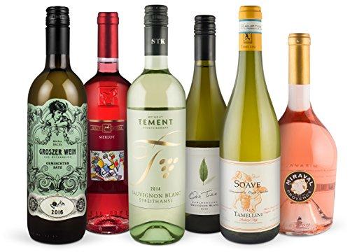 Frhlings-Bestseller-Set-4-Weiweine-2-Rosweine-trocken-aus-sterreich-Neuseeland-Frankreich-Italien-Sauvignon-Blanc-Chardonnay-Merlot-Syrah-Ideal-als-Geschenk-Paket-oder-fr-den-persnlichen-Premium-Wein-