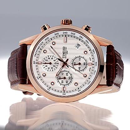 Time100-Moderne-Herrenarmbanduhr-Chronograph-Quarzuhr-mit-Datum-Wasserdicht-Leder-rund-Rosegold-W70004G02A
