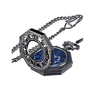 Vintage-Mechanische-Hand-Wind-Blau-Skeleton-Taschenuhr-mit-Kette
