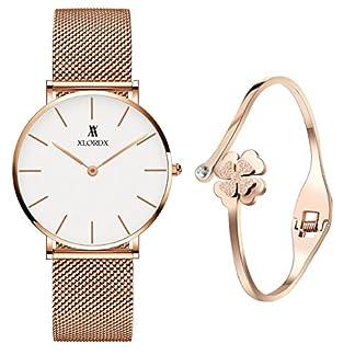 XLORDX-Classic-Damen-Armbanduhr-Analog-Quarz-Rosegold-Edelstahl-Armband-Wei-Zifferblatt-mit-Elegant-Rosegold-Armband