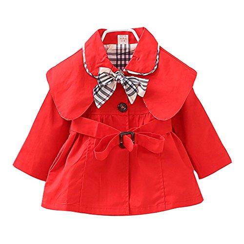 Baby Mädchen Schleife Gürtel Mantel Jacke Baumwolle Frühling Herbst Windbreaker Mode Oberbekleidung Outerwear 70-100cm