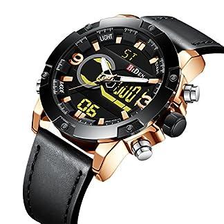 Herren-Sport-Digital-Analog-Quarz-Uhren-fr-Mnner-Leder-Leder-Militr-Chronograph-Wasserdicht-Armbanduhr