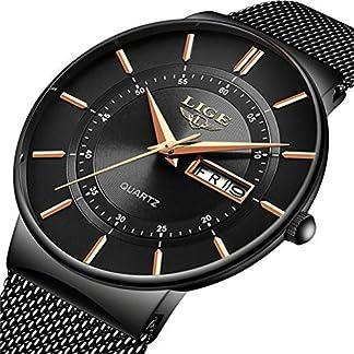 LIGE-Herren-Uhren-Ultra-Dnne-Schwarze-Minimalistische-Quartz-mit-Datumsanzeige