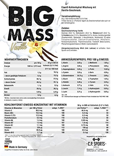 Big Mass – 1000g Beutel Weightgainer (verbesserte Formel) 3-Komponenten-Carbo-Matrix (Maltodextrin, Maisstärke, Dextrose) (Vanille)