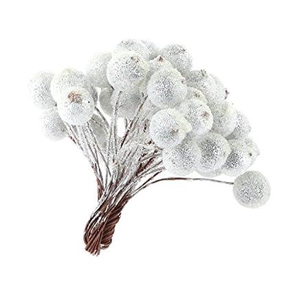 200pcs-Mini-Weihnachten-Dekoration-Knstliche-Frucht-Beere-Holly-Blumen-Silber