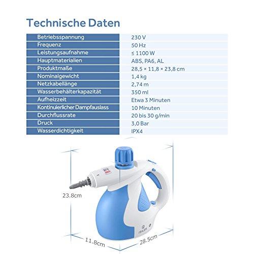 Dampfreiniger-iSiLER-elektrischer-Dampfreiniger-mit-15-Zubehrteilen-Sicherheitsverrieglung-350-ml-Wasserbehlter-Dampfente-Handdampfreiniger-fr-Bad-Fliesen-Boden-Fenster-Teppich-Autositze