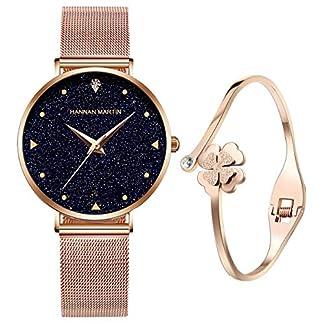 UEOTO-Damen-Uhr-Analog-Quarz-Armbanduhr-mit-Rosgold-Edelstahl-Milanese-Armband-3ATM-Wasserdicht-Damenuhren-mit-Blau-Sternenhimmel-Zifferblatt-fr-Frauen