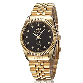 XLORDX-Herren-Armbanduhr-Business-Casual-Analog-Quarz-Gold-Uhr-mit-Edelstahl-Armband-Schwarz-Zifferblatt