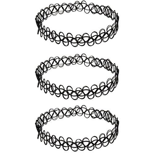3 x Henna Tattoo Halskette schwarz | Choker stretch Schmuck Kette | Henna Vintage Kette | Beyond Dreams