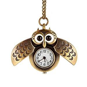 AWStech-Lovely-Pocket-Watch-Schn-Bronze-Silber-Tone-Eule-Quarz-Taschenuhr-Anhnger-mit-Lnge-Kette-Halskette-Beste-Willkommen-Geschenk